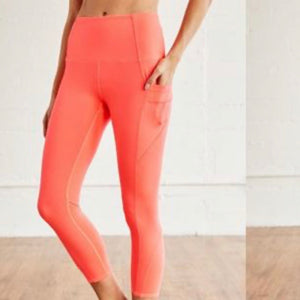 FREE PEOPLE END GAME HIGH RISE LEGGING- NEON CORAL