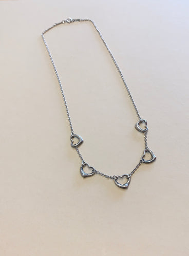 Tiffany Five Station Open Heart Necklace