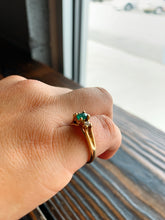 Load image into Gallery viewer, Emerald Ring with Diamond on Either Side