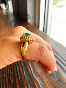 Pear Shape Emerald Ring w/ Double Diamond Halo