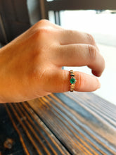 Load image into Gallery viewer, Emerald Band with Diamonds on Either Side