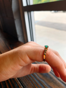 Emerald Band with Diamonds on Either Side