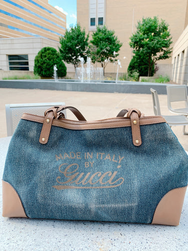Denim & Tan Leather Gucci Bag