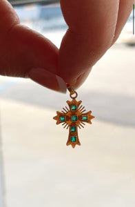 Hand Made Emerald Accent Cross Pendant