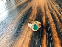 Load image into Gallery viewer, Emerald with Diamond Halo Ring