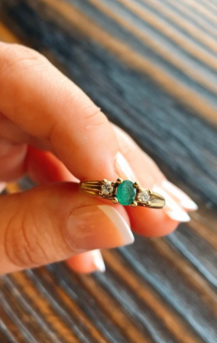 Emerald Ring with Diamond on Either Side