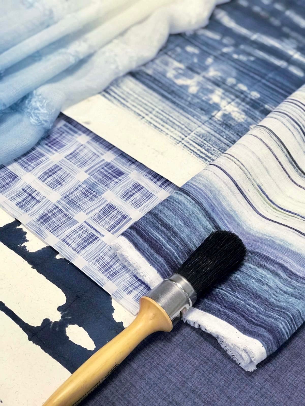 Close-up of O&L indigo Japanese inspired fabrics
