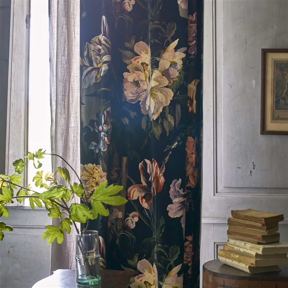 Room showing curtains made in Designers Guild Delft Noir floral velvet
