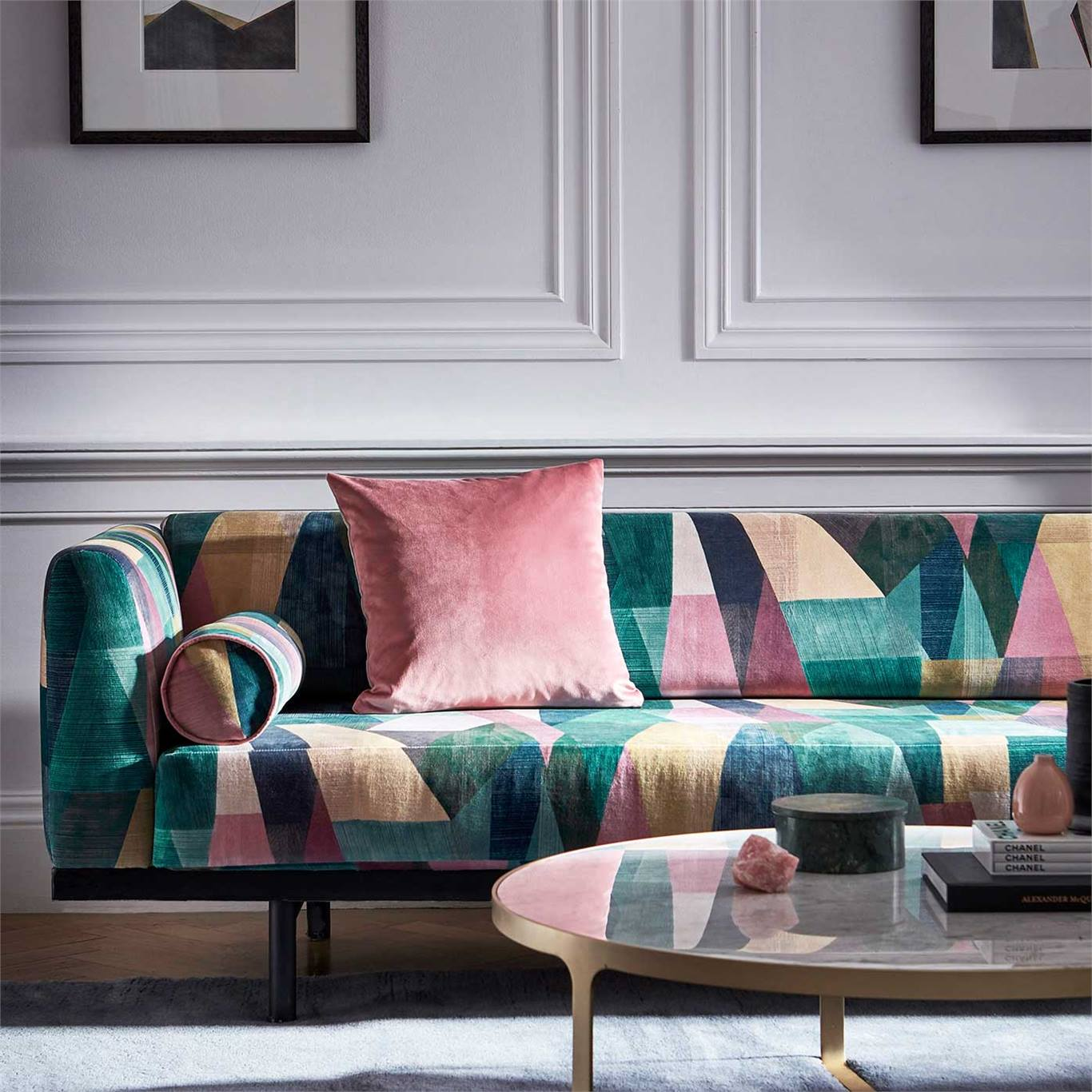 Bold geometric patterned contemporary sofa