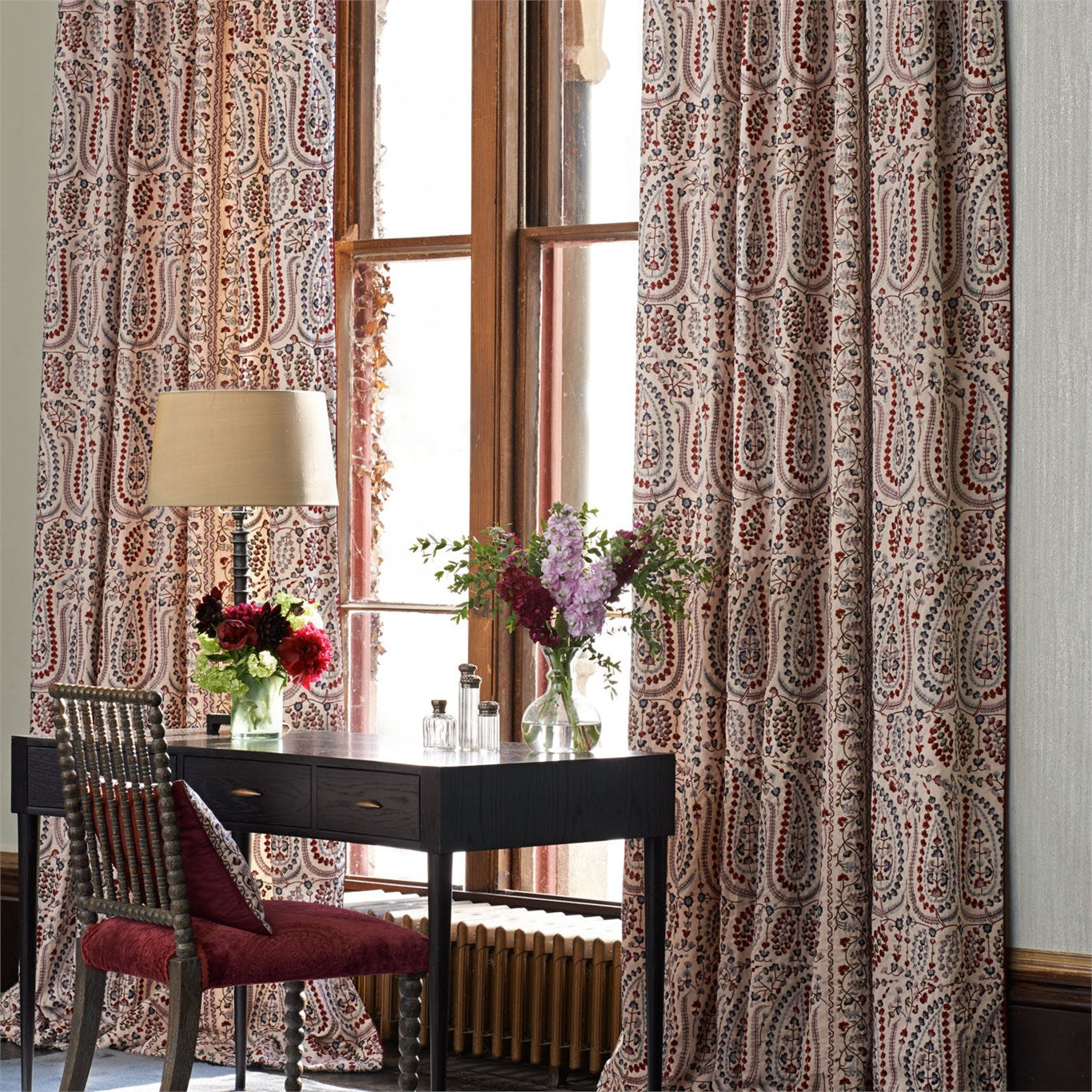 Zoffany Jayshree embroidery curtains with writing desk