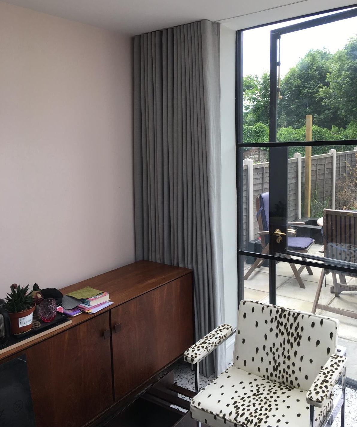 Wave Curtains on Recessed Wave Track on Bifold Doors