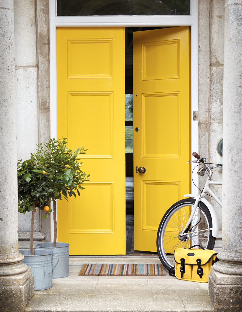 Sunny yellow front door for hope