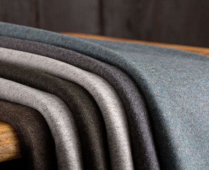 Folded wool upholstery fabrics in neutral colours