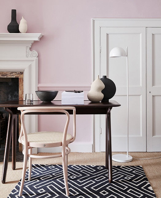 Study with Pink Slip walls and monochromatic rug