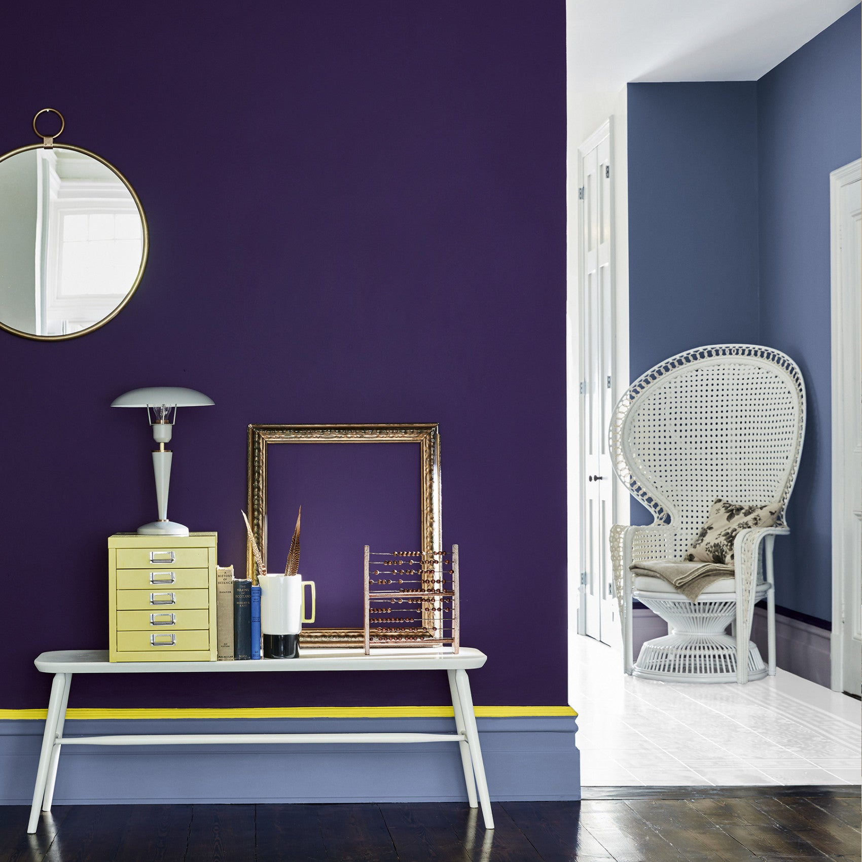 colour blocked open plan interior with Thai Sapphire 116 and Pale Lupin 278 on walls, and Trumpet 196 on skirting