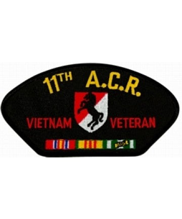 11th Armored Cavalry Regiment Vietnam Veteran with Ribbons Black Patch (4 inch) - The Company of Eagles