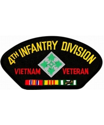 4th Infantry Division Vietnam Veteran with Ribbons Black Patch (4 inch) - The Company of Eagles