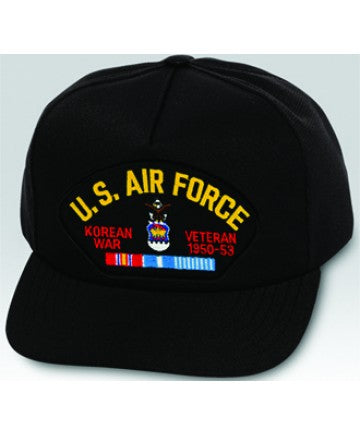 US Air Force Korean War Veteran with Ribbons Black Ball Cap US Made - The Company of Eagles