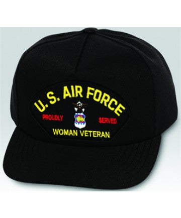 US Air Force Proudly Served Woman Veteran Emblem Black Ball Cap US Made - The Company of Eagles