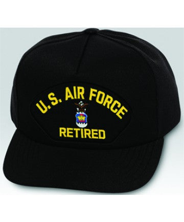 US Air Force Retired Emblem Black Ball Cap US Made - The Company of Eagles