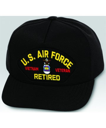 US Air Force Vietnam Veteran Retired Emblem Black Ball Cap US Made - The Company of Eagles