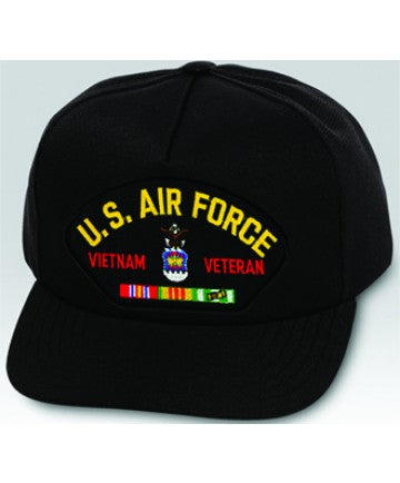 US Air Force Vietnam Veteran with Ribbons Black Ball Cap US Made - The Company of Eagles