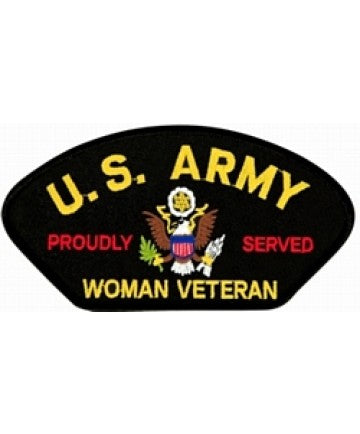 US Army Proudly Served Woman Veteran Black Patch (5 1/4 inch) - The Company of Eagles