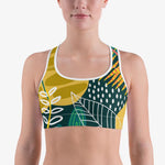 "Load image into Gallery viewer, Floral Sports Bra ""Tropics"" Olive/Green"