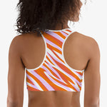 "Load image into Gallery viewer, Patterned Sports Bra ""Cheetiger"" Orange"
