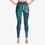 Load image into Gallery viewer, Funky animal printed leggings for women. Leopard blue back side.