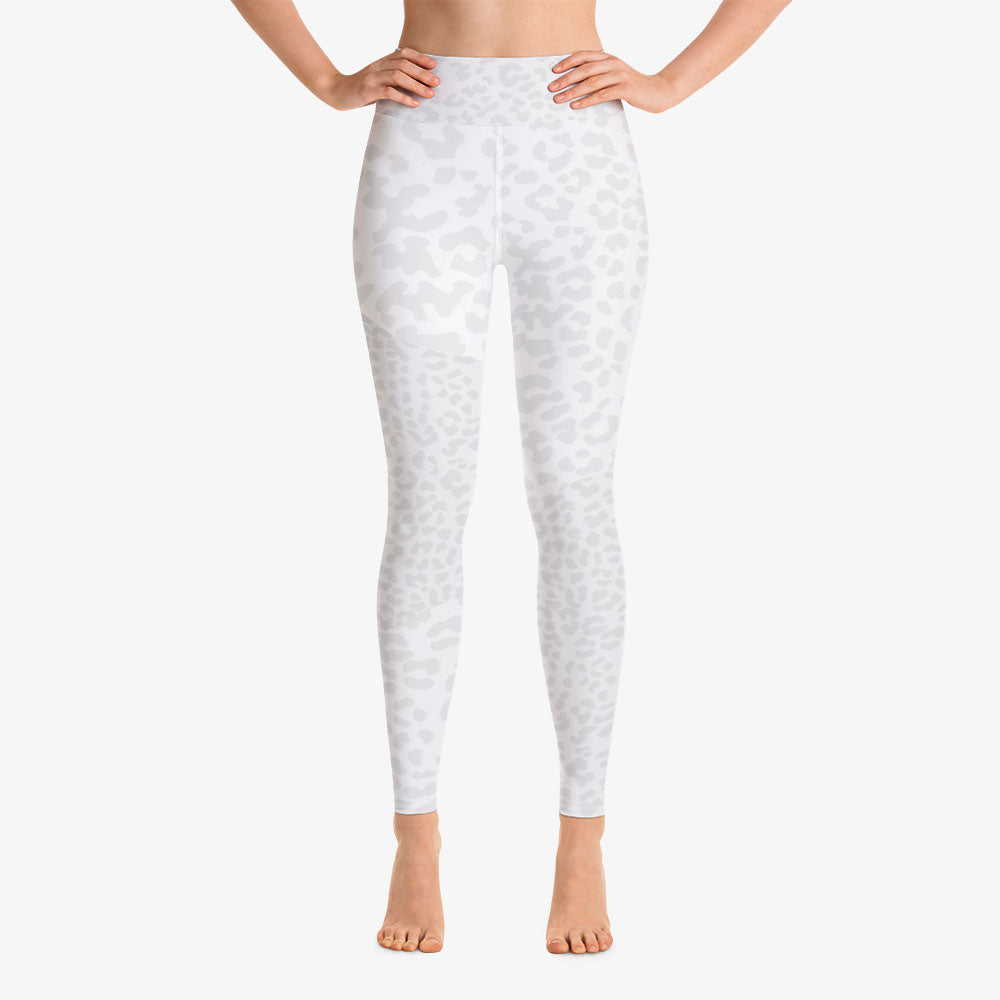 "Funky animal printed leggings for women. Model ""leopard"" white front."