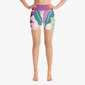 "Floral Shorts ""Leaves"" Violet/Green"