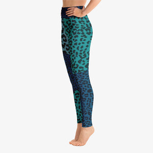 Funky animal printed leggings for women. Leopard blue left side.