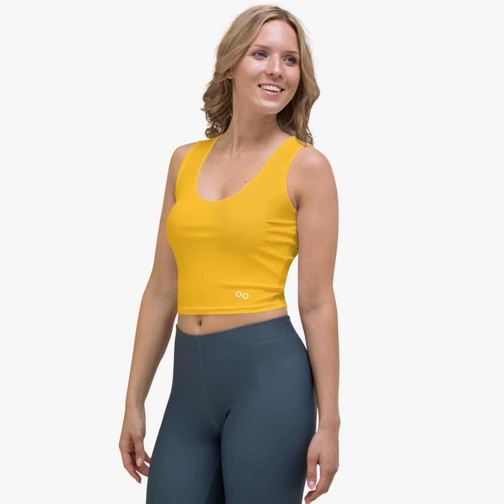 "Funky crop top for women. Perfect for Yoga, Pilates and Gym. Model ""monochrome"" yellow"