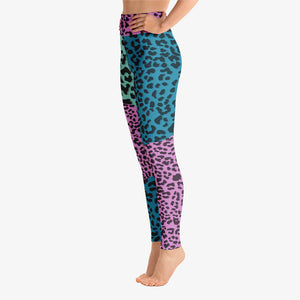 Funky animal printed leggings for women neon. Left side.