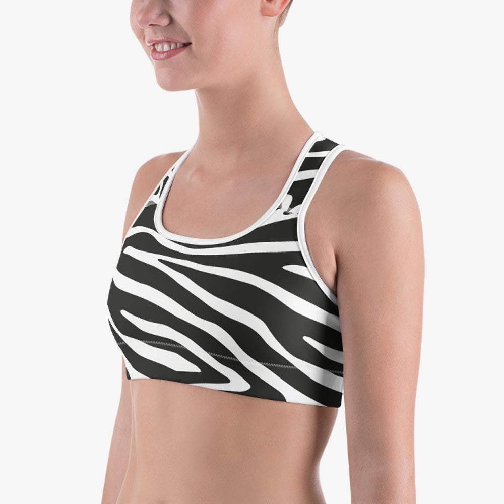 "Animal Printed Sports bra ""Zebra"" Black/White"