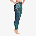 Load image into Gallery viewer, Funky animal printed leggings for women. Leopard blue right side.