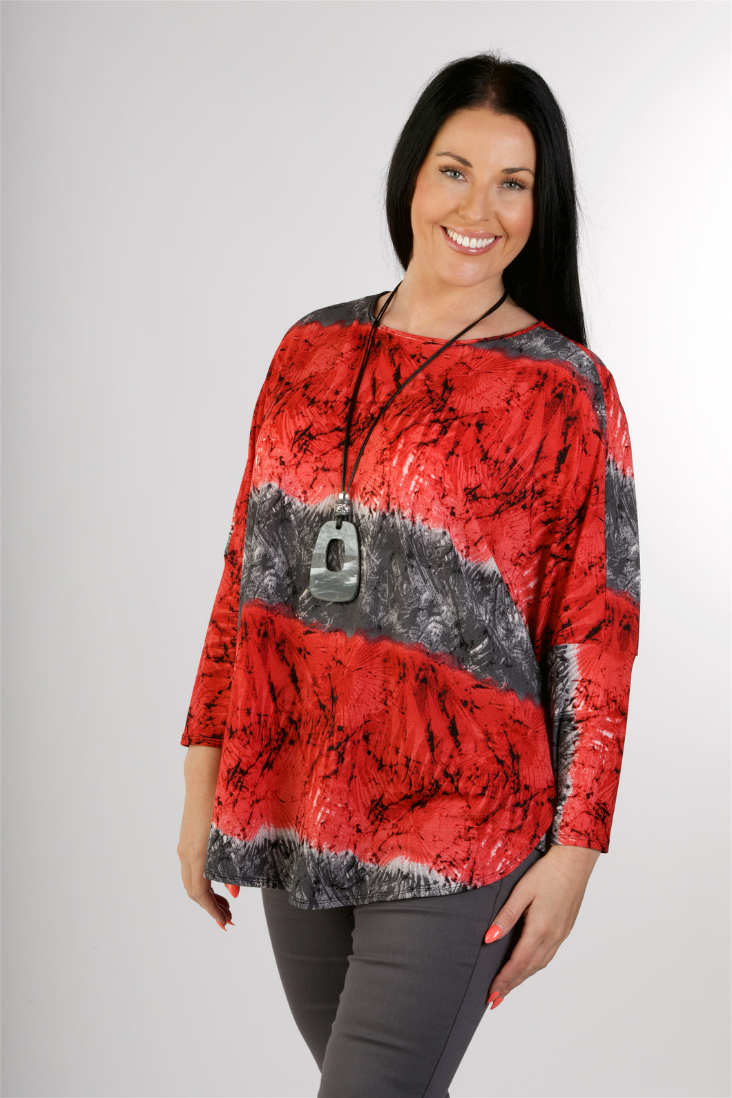 4101 Batwing Print Top with Necklace