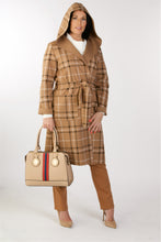 Load image into Gallery viewer, 2401 Check Coat With Hood Tan