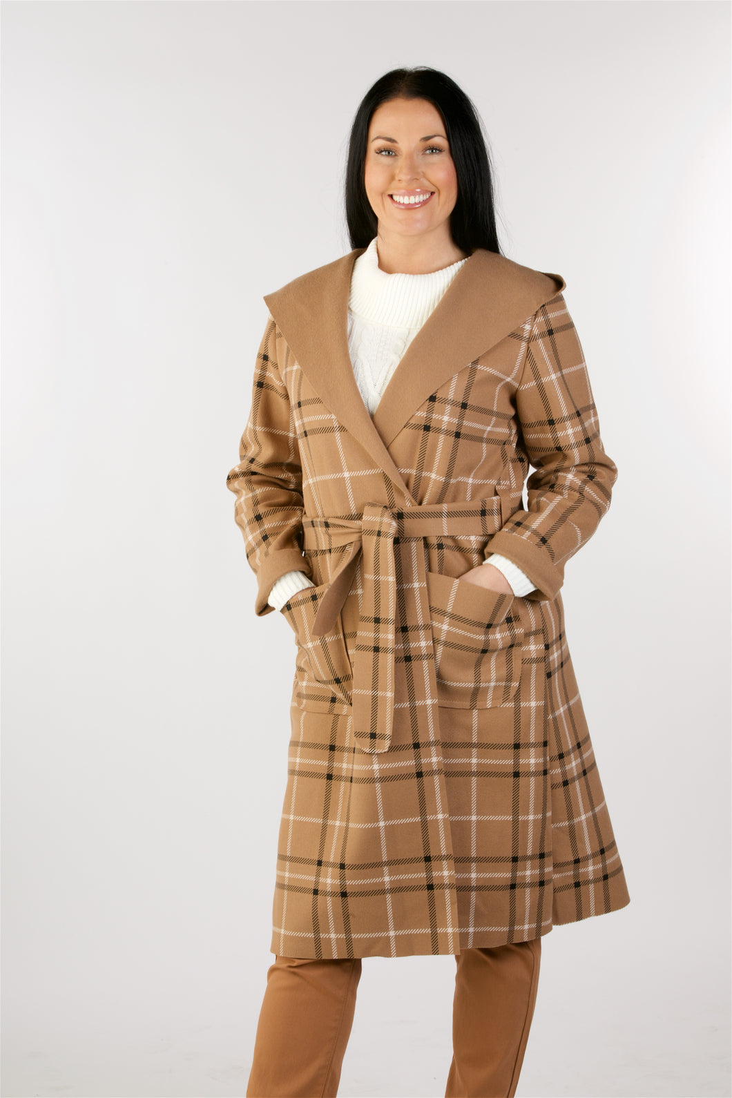 2401 Check Coat With Hood Tan