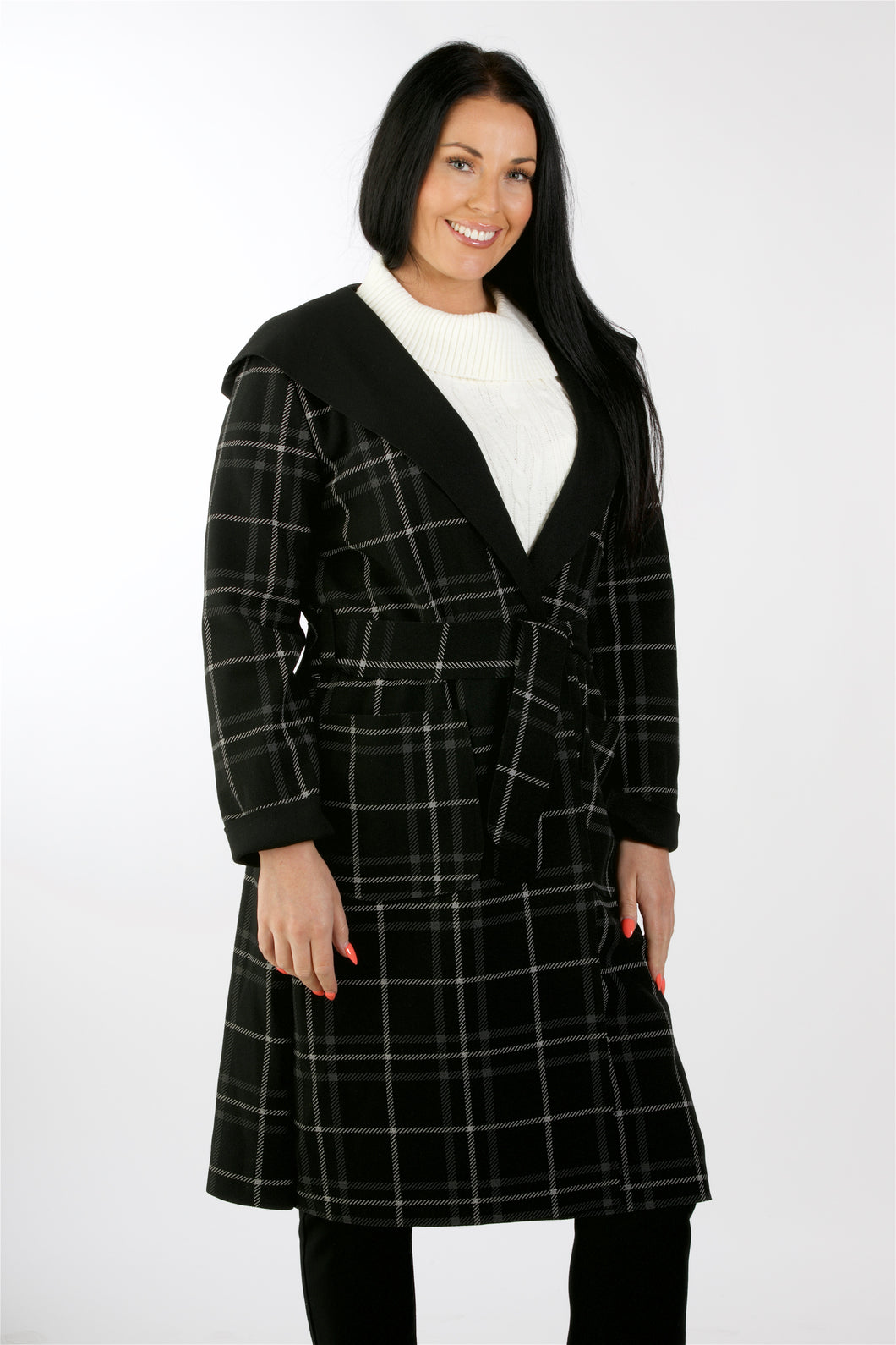2401 Check Coat With Hood Black