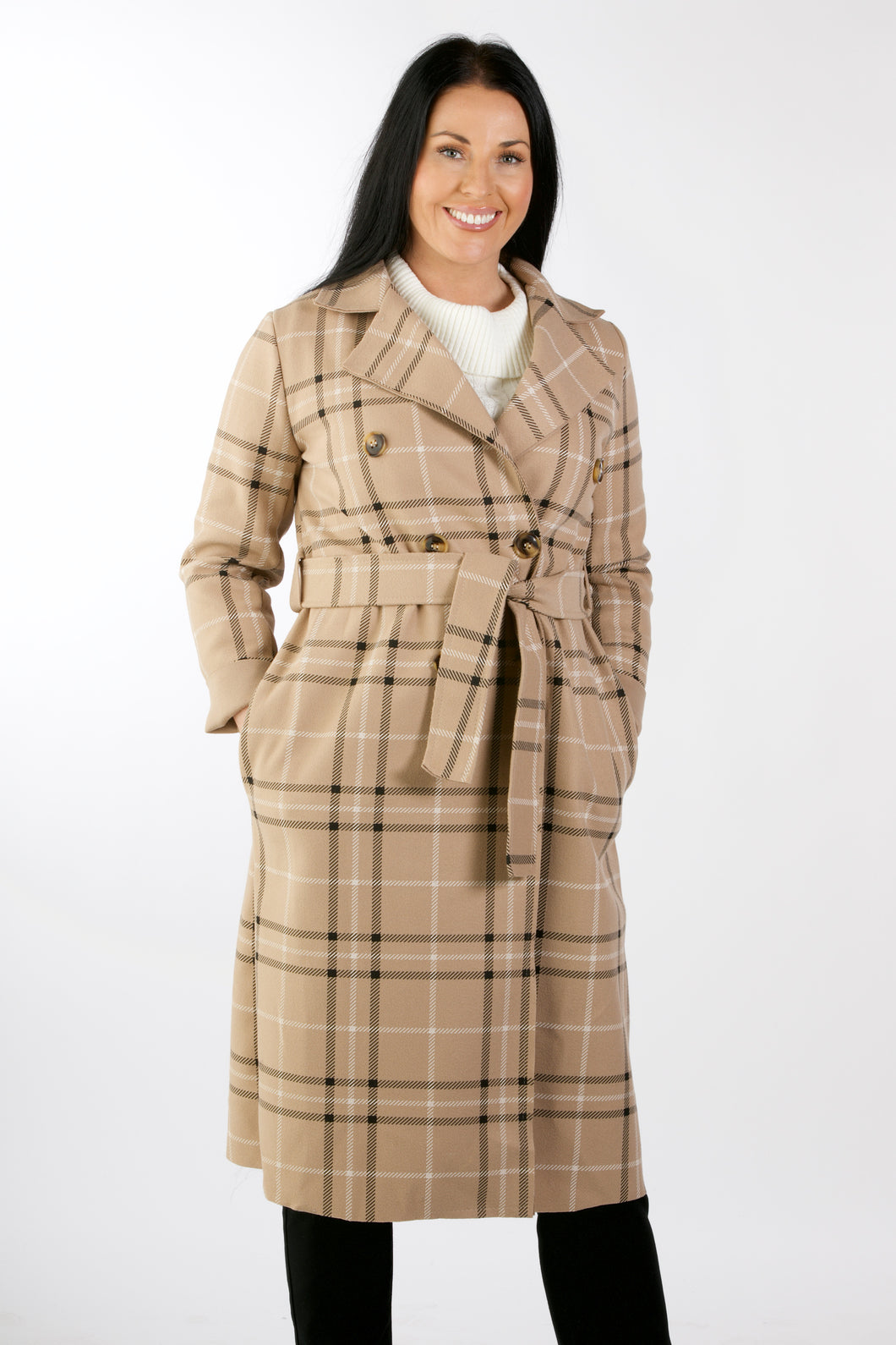 2402  Double Breasted Check Jacket Beige