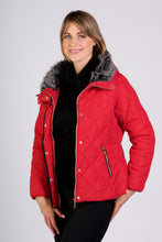 Load image into Gallery viewer, 5402 RED FUR COLLAR QUILTED JACKET