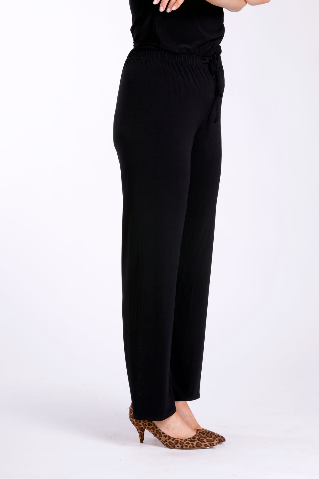 4201 ELASTIC WAIST WIDE LEG TROUSER Black