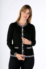 Load image into Gallery viewer, 6316  PEARL BUTTON CARDIGAN BLACK