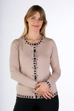 Load image into Gallery viewer, 6316  PEARL BUTTON CARDIGAN LT BEIGE