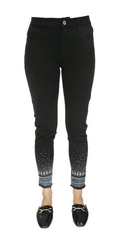 Sequin Detail Slim Leg Denim- Italian