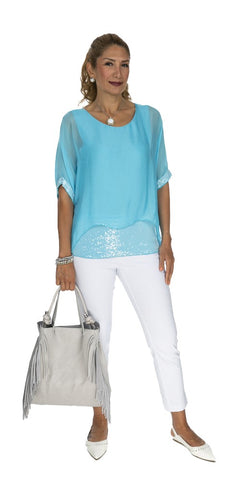 Sequin Trim Layered Silk Top - Italian