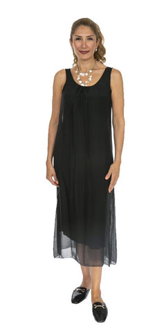 Sleeveless Long Silk Dress - Italian