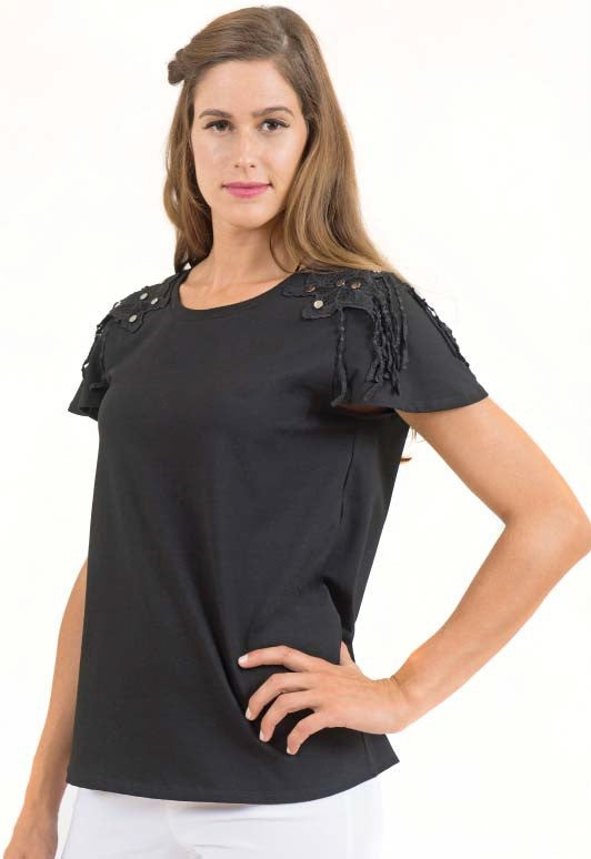 Short Sleeve Detail Shoulder Top